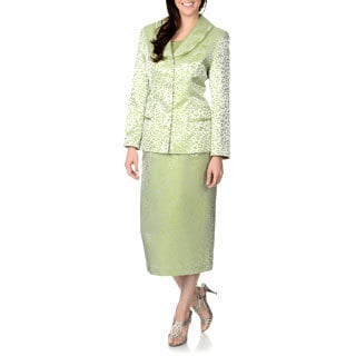 Giovanna Signature Women's Lime Animal Print 2-piece Skirt Suit