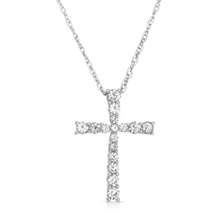 14k White Gold 1/4ct TDW Diamond Cross Necklace (H-I, I2-I3)