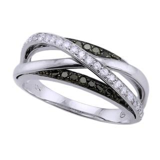 Beverly Hills Charm 10k Gold 1/2ct TDW Multi-row Crossover Black and White Diamond Ring (H-I, I2-I3)