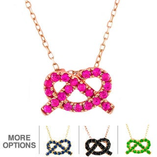 Beverly Hills Charm 14k Gold Love Knot Gemstone Necklace