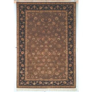 Safavieh Hand-knotted Tabriz Floral Dark Camel/ Palm Wool/ Silk Rug (9' x 12')