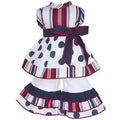 AnnLoren American Girls Dolls Red, White and Blue Polka Dot Outfit