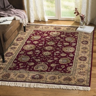 Safavieh Hand-knotted Tabriz Floral Red/ Gold Wool/ Silk Rug (6' x 9')