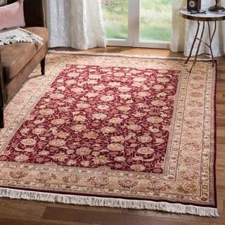 Safavieh Hand-knotted Tabriz Floral Burgundy/ Camel Wool/ Silk Rug (6' x 9')