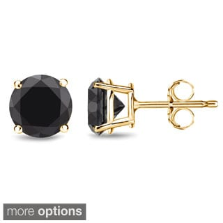 Auriya 14k Yellow Gold Black Diamond Basket Set Stud Earrings