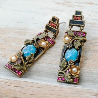 Sweet Romance Chinese Rose Screen Earrings