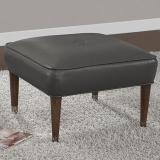 Kellly 25-inch Mid-century Charcoal Bonded Tufted Ottoman