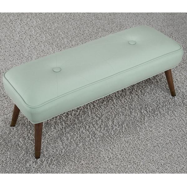 Kelly 48-inch Mid-century Aqua Bonded Tufted Bench