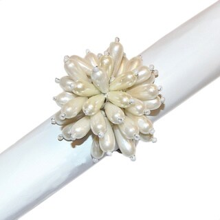 Celebration Ivory Cluster Beaded Napkin Rings (Set of 4)