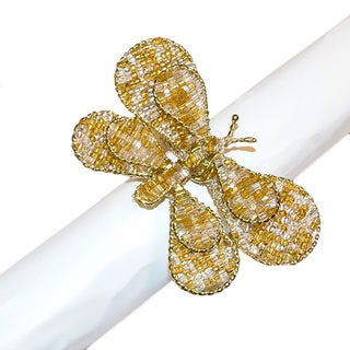 Celebration Golden Butterfly Beaded Napkin Rings (Set of 4)