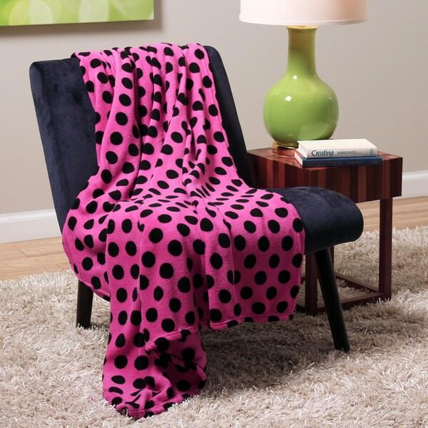 Plush Decorative Pink Dot Throw