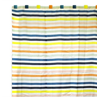 Beach Stripe Shower Curtain with 12 Colorful Square Hooks