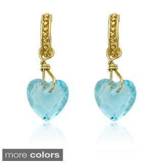 Little Miss Twin Stars Flower Girl 14k Goldplated Brass Half-hoop Heart Earrings