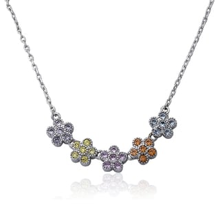 Little Miss Twin Stars Flower Girl Multi-color Cubic Zirconia Necklace