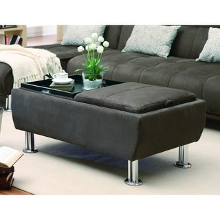 Brown Microfiber Storage Ottoman with Serving Trays
