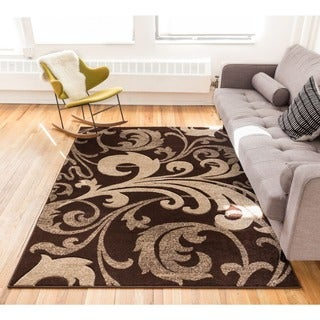 Scrolls Fleur-de-lis Gradient Hand-carved European Floral Brown and Beige Area Rug (7'10 x 9'10)