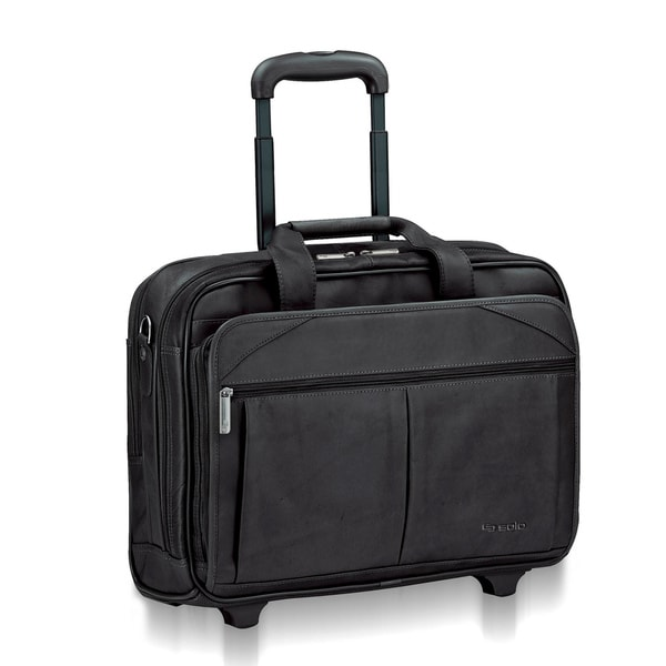 Solo Classic Black Leather Checkfast Rolling 15.6-inch Laptop Case