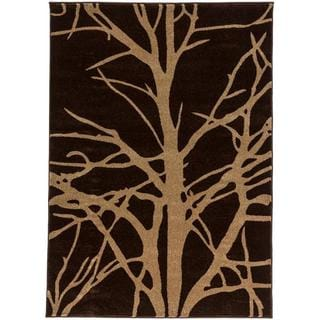 Antique Winter Tree Branches Brown and Beige Modern Geometric Area Rug (5'3 x 7'3)