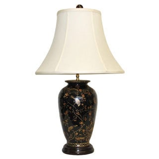 Black Pagoda Round Porcelain Table Lamp