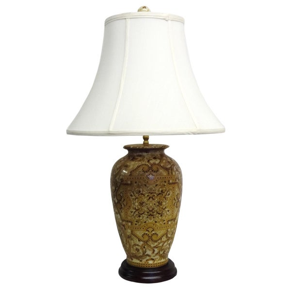 Gold Tapestries Round Porcelain Table Lamp