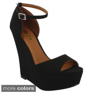 X2B Women's 'Plora-1' Ankle-strap Peep-toe Wedges