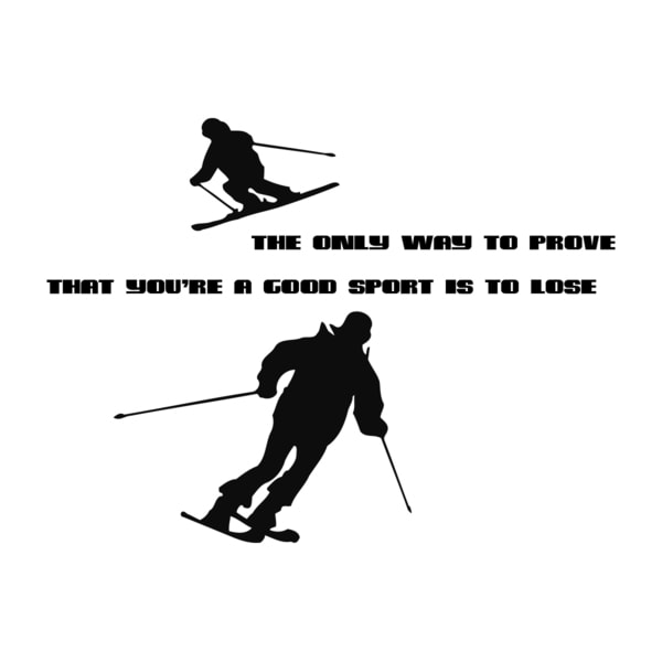 Skiing Quote 'The Only Way...' Black Vinyl Wall Decal Sticker