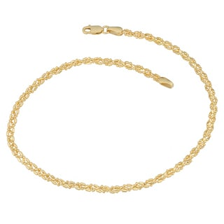 Fremada 10k Yellow Gold 2.75-mm Braided Alternate Ball and Bar Anklet (10 inch)