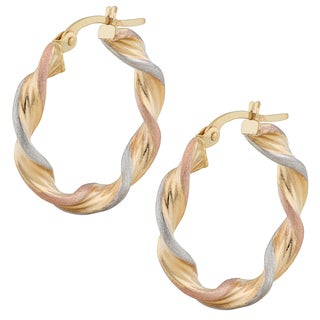 Fremada 14k Tricolor Gold 3.5 x 15mm Polish and Satin Finish Twisted Hoop Earrings
