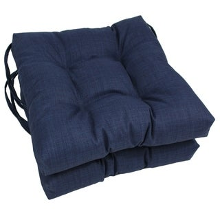 Blazing Needles 16x16-inch Solid Squared Outdoor Spun Polyester Chair Cushions (Set of 2)