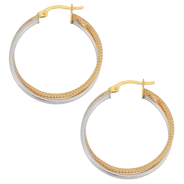 Fremada 10k Two-tone Gold 1.5 x 25mm Polished and Textured Finish Round Double Hoop Earrings