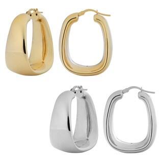 Fremada 18k Gold over Silver Polished Electroform Rectangular Hoop Earrings