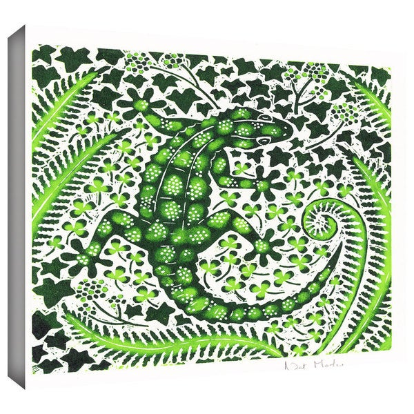 ArtWall Nat Morley 'Green Gecko' Gallery-Wrapped Canvas