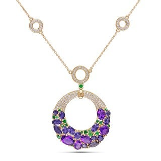 Miadora 14k Yellow Gold Multi-gemstone and 1ct TDW Diamond Necklace (G-H, SI1-SI2)