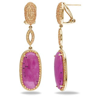Miadora Signature Collection 14k Yellow Gold 20ct TGW Pink Sapphire and Yellow Sapphire Earrings