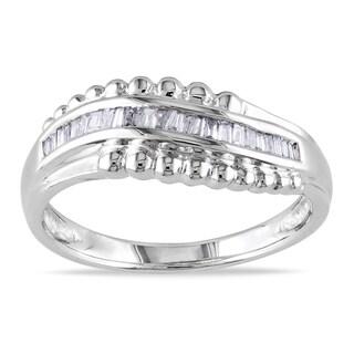 Miadora 14k White Gold 1/6ct TDW Baguette Diamond Curved Ring (G-H, I1-I2)