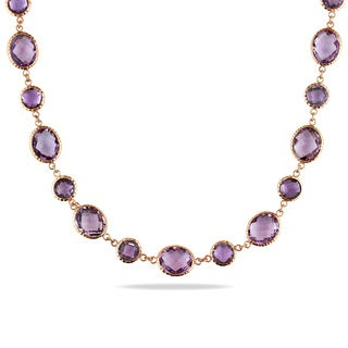 Miadora Signature Collection 14k Rose Gold 55 1/2ct TGW Rose de France and Amethyst Necklace