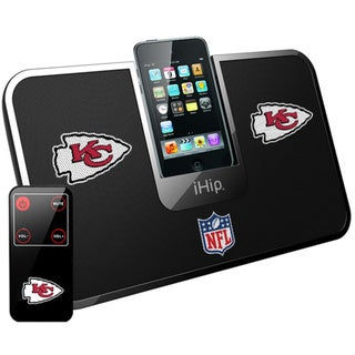 iHip Official NFL Kansas City Chiefs Portable iDock Wireless Remote Stereo Speaker