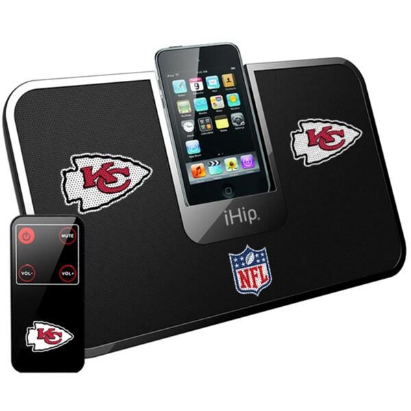 iHip Official NFL Kansas City Chiefs Portable iDock Wireless Remote Stereo Speaker