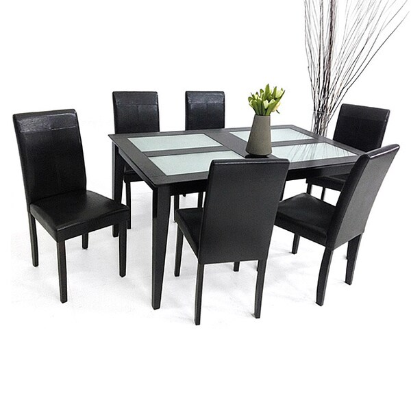 Warehouse of Tiffany 7-piece Tafline Glass Table Dining Set