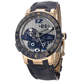 Ulysse Nardin Men's 'El Toro' Silver Dial Blue Leather Strap Rose Gold Watch 326-00