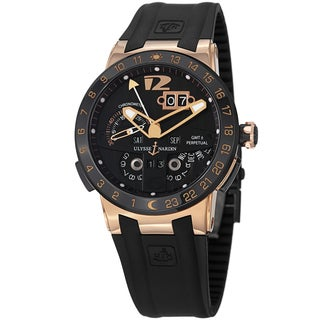 Ulysse Nardin Men's 'El Toro' Black Dial Rubber Strap Rose Gold Watch 326-03-3