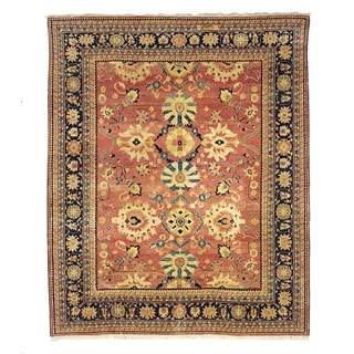 Safavieh Hand-knotted Peshawar Vegetable Dye Rust/ Navy Wool Rug (6' x 9')