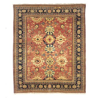 Safavieh Hand-knotted Peshawar Vegetable Dye Rust/ Navy Wool Rug (6' x 9')
