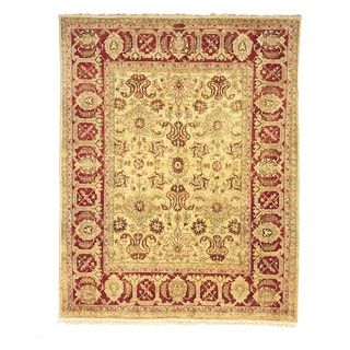 Safavieh Hand-knotted Peshawar Vegetable Dye Ivory/ Red Wool Rug (6' x 9')