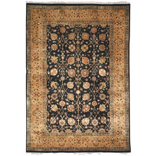 Safavieh Hand-knotted Ganges River Black/ Gold Wool Rug (5' x 7')