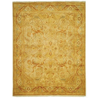 Safavieh Hand-knotted Peshawar Vegetable Dye Light Gold/ Dark Gold Wool Rug (6' x 9')