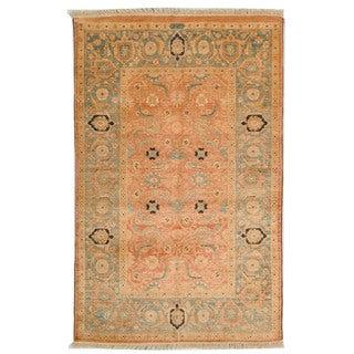Safavieh Hand-knotted Peshawar Vegetable Dye Rust/ Light Blue Wool Rug (6' x 9')