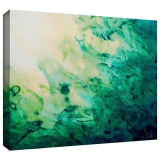 ArtWall Shiela Gosselin 'Green Watery Abstract' Gallery-Wrapped Canvas