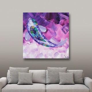 ArtWall Shiela Gosselin 'Purple Koi' Gallery-Wrapped Canvas