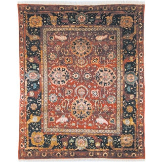 Safavieh Hand-knotted Peshawar Vegetable Dye Red/ Navy Wool Rug (5' x 8')